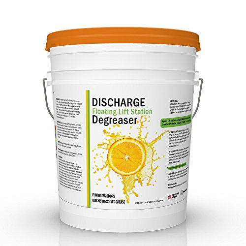 Discharge DEGREASER | Industrial Strength Orange Oil D-Limonene Cleaner for Grease Traps & Floating Lift Stations (5 Gallon)