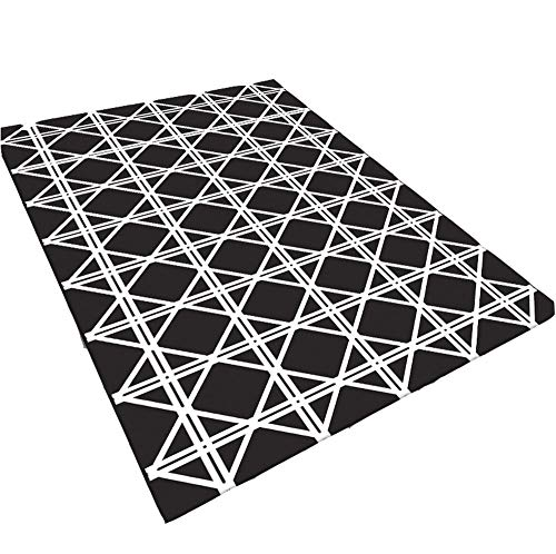 Eenvoudig modern bedrukt tapijt woonkamer salontafel bank tapijt slaapkamer volledig zwart en wit geometrisch tapijt