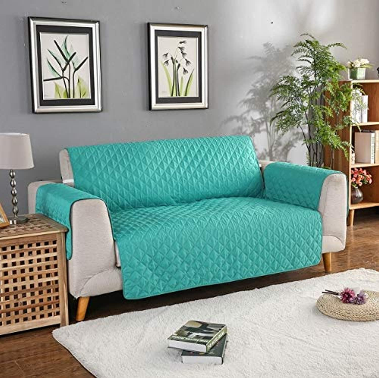 Sofa Cover for Living Room Cheap Corner Slipcovers Set Polyester Stretch Furniture Sectional Couch Cubierta Fabric Sofa Towels   Green, Single Seat