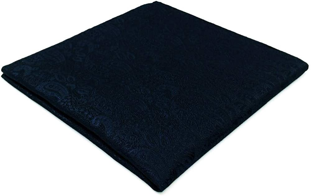 SHLAX&WING Dark Blue Paisley Mens Pocket Square Handkerchief Solid Color Silk