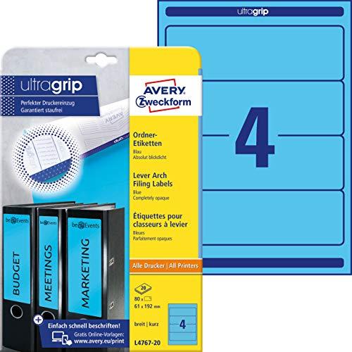 AVERY Zweckform L4767-20 Ordnerrücken Etiketten (mit ultragrip, 61 x 192 mm auf DIN A4, breit/kurz, selbstklebend, blickdicht, bedruckbare Ordneretiketten, 80 Rückenschilder auf 20 Blatt) blau