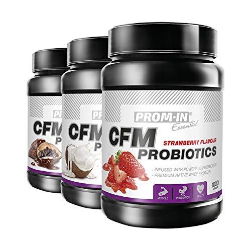 100% Whey protein / Proteína de suero de leche PROM-IN Essential CFM Probiotics | Bebida proteica nativa de primera calidad infundida con potentes probióticos (Fresa, 1000 g)