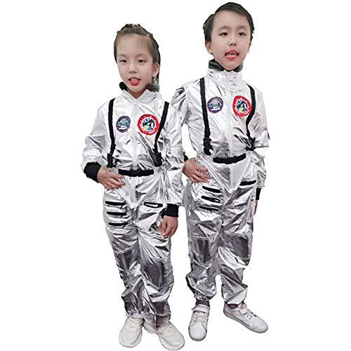 KPII Traje de Astronauta Novedad, Uniforme de Los Nios, Vestido de Novedad Cosplay Jumpsuit,Plata,XL
