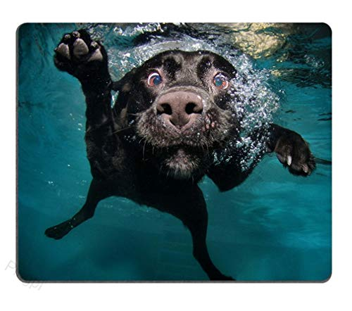 Gaming Mouse Pad Custom Design Large Mat, Funny Black Labrador Retriever Dog Swimming,Non-Slip Rubber Rectangle Mouse Pads for Computers Laptop - 9.8(L)x 11.8(W) inch