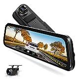 TOGUARD 2.5K Mirror Dash Cam for Car, Dual Dash Camera Front and Rear w/10' Full Touch Screen, Rear View Mirror Camera, 1080P Waterproof Reverse Backup Camera, Parking Assist, Loop Recording, G-Sensor