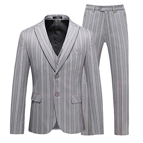 Outwear Stripe Suit for Men Groom Best Wedding Suits 2021 Slim Blazers Tuxedos Business Casual Jacket+Vest+Pants-Gray-XL