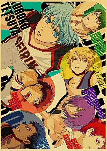 xiangpiaopiao Kuroko Anime Baloncesto Retro Cartel Lienzo Pintura Pared Pegatinas para Sala De Estar Hogar Bar Decoración 50X70Cm Kq-1224