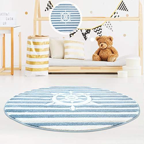MyShop24h Kinderteppich Teppich Hochwertig Konturenschnitt Glanzgarn Maritim Schiff-Lenkrad Kinderzimmer, Größe in cm:120 x 120 cm rund
