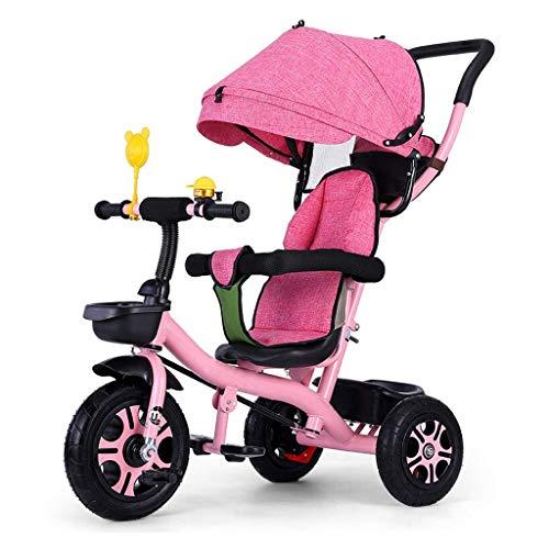GCXLFJ Triciclo Bebe Triciclo Triciclo,Pedal Ajustable multifunción Triciclo de Dos vías Sentado diseño,Triciclo del bebé al Aire Libre,3 Colores,90x90x58cm(Color:Azul) (Color : Pink)