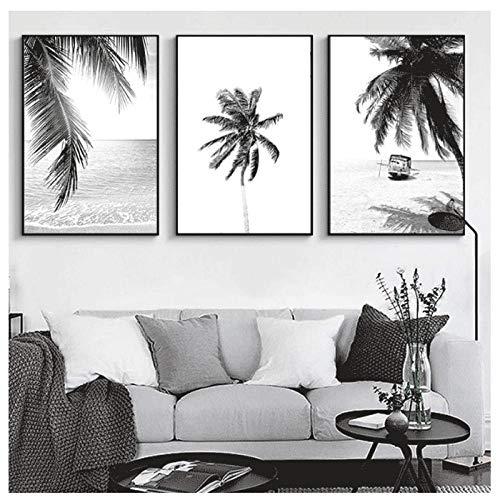 Kunstdruk op canvas zwart wit palmbladeren Scandinavische decoratie van het huis, minimalistisch, afbeelding op doek en drukken, schilderen, muurkunst, decoratieve afbeeldingen, 30 x 40 cm x 3 zonder lijst