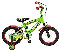 14 inch steel spoked wheels, with all-terrain tyres pump up tyres and rear ball bearing axles. Twin caliper brakes with adjustable, child friendly easy reach brake levers. Sturdy hi-tensile frame in bright-green with black rigid forks. Fully enclosed...