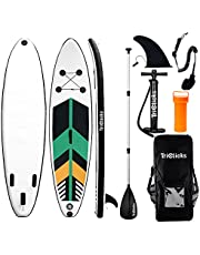 Triclicks 10ft Stand Up Paddle Boards Opblaasbare SUP Board Surfboard - Beginnerskit. Verstelbare peddel, luchtpomp met manometer, vin, reparatieset, premium riem en rugzak - 300 x 75 x 15 cm
