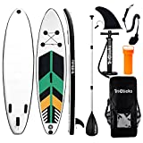 Triclicks 10ft Stand Up Paddle Boards Inflatable SUP Board Surfboard - Beginner's Kit. Adjustable Paddle, Air Pump With Pressure Guage, Fin, Repair Kit, Premium Leash & Rucksack (Style 9)