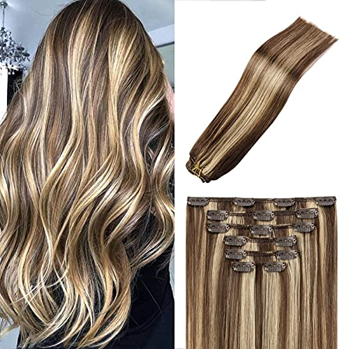 20In Chocolate Brown To Honey BlondeClip In Hair Extensions 8A Grade Dip Dyed Ombre Full Head Long Straight 100% Human Hair Golden Blonde Highlighted Sew In Extensions 70g7PCS((20In#4P27)