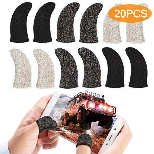 Touchscreen Finger Sleeve 20 Pieces Set, Gaming Finger Sleeve, Anti-Sweat Breathable Touchscreen Finger Sleeve for Mobile Phone Games
