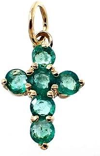 18K Gold Cross Pendant 11mm. Genuine Emerald Stones Woman