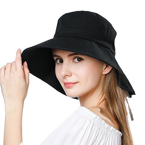 Comhats Mujer Sol Verano Algodón Sombrero De ala Ancha Tapa Abatible UPF 50 + Barbilla Manera Gorro Negro M