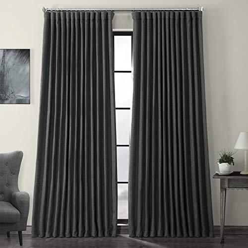 HPD Half Price Drapes BOCH-LN1854-96-DW Faux Linen Extra Wide Blackout Room Darkening Curtain (1 Panel), 100 X 96, Dark Gravel