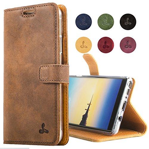 Snakehive Note 8 Schutzhülle/Klapphülle echt Leder Kartenfach mit Standfunktion, Handmade in Europa für Note 8 - Braun
