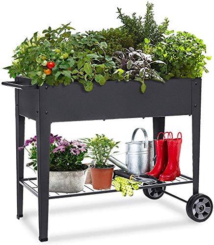 KHOMO GEAR Huerto Urbano Carrito Galvanizado Elevado para Cultivo en Casa Plantas Frutas Verduras Terraza Jardín Interior Exterior - Negro