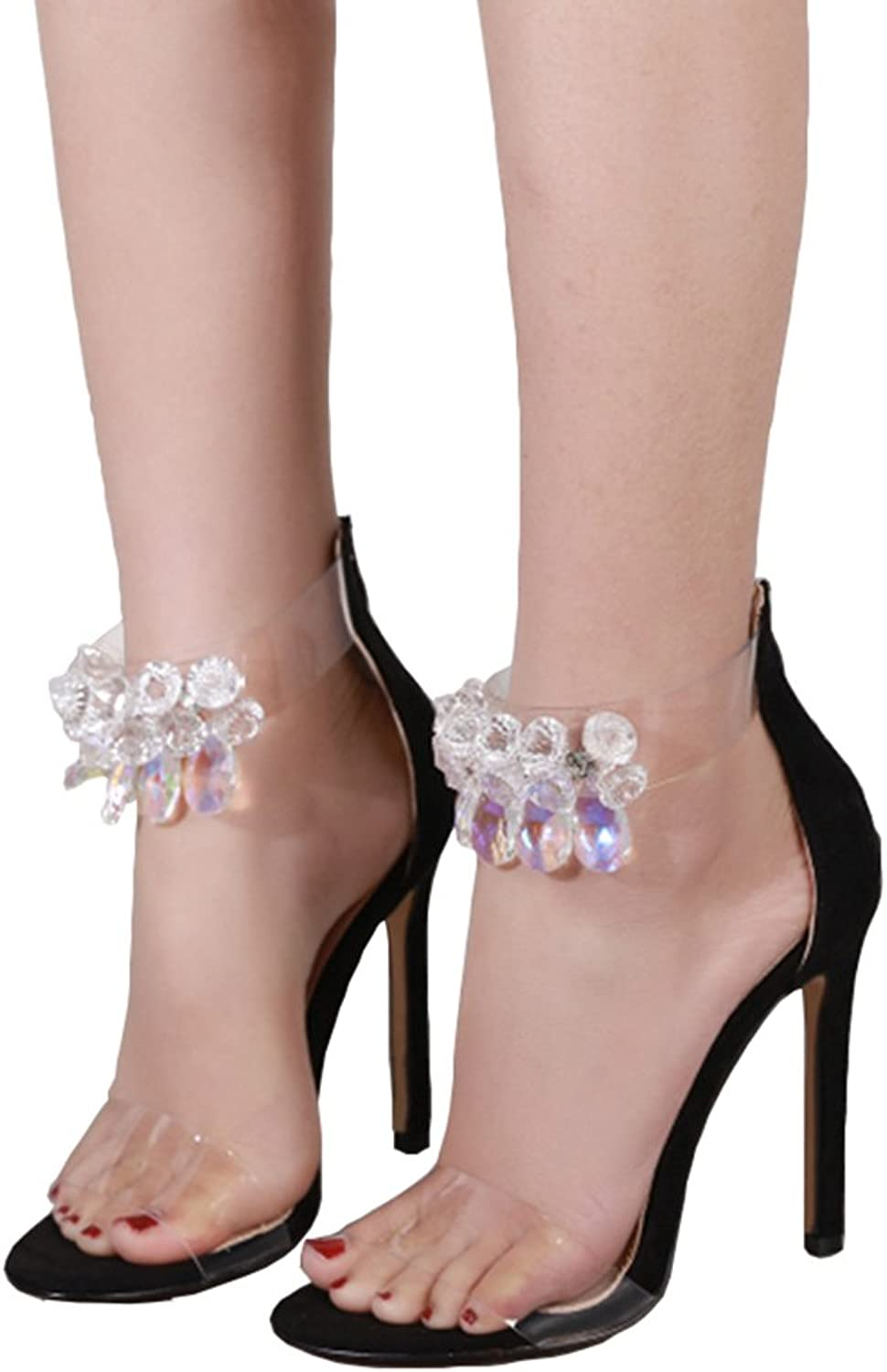 AZMODO Woman's Rhinestone Crystal Ankle Strap Stiletto Heeled Sandal Open Toe Bridal Party shoes