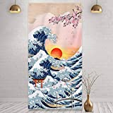 Japanese Kanagawa Hanging Wall Tapestry Great Wave Photo Door Banner Sunset Cherry Blossom Art Nature Background Backdrop for Japanese Party Home Decorations, 6 x 3 Feet