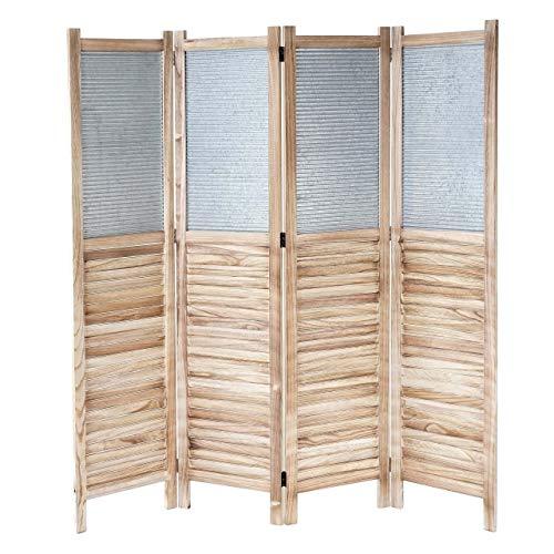 Mendler Paravent HWC-D27, Raumteiler Trennwand spanische Wand Sichtschutz, Holz Metall 170x160x2cm