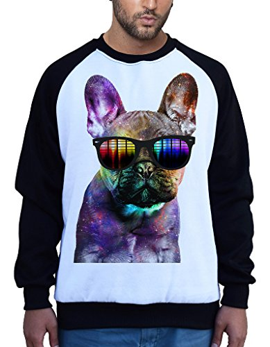 Galaxy Rave French Bulldog Head Tee B675 Men's PLY Raglan Baseball Sweatshirt X-Large