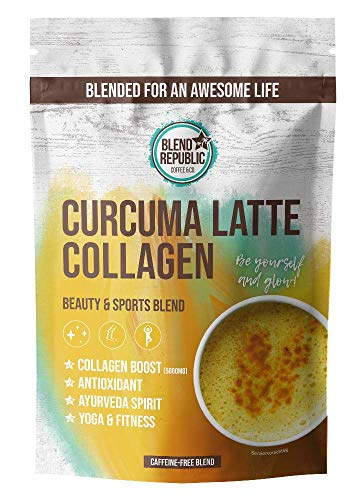 Curcuma Latte Collagen ⍟ Goldene Milch mit Collagen Pulver ⍟ Kurkuma, Ballaststoffen und Vitamin C ⍟ Kollagen Peptide Type I, II und III ⍟ Kurkuma Collagen Drink ⍟ 30 Portionen 300g