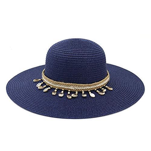 Jiangjinland Elegante handgemaakte dames strohoed zomer plat strand zacht pak 2019 zonnecrème accessoires 56/58 cm donkerblauw