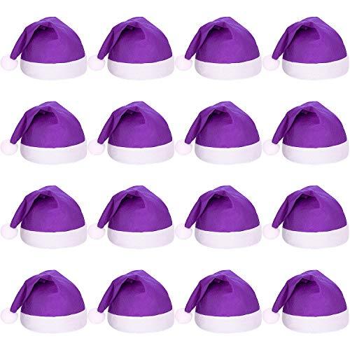 16 Piezas Sombreros de Papá Noel de Tela No Tejida Navideña Gorros de Santa de Navidad para Adultos (Púrpura )
