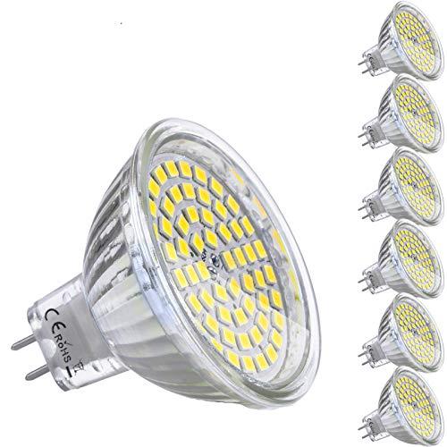 Lampadine LED MR16 GU 5.3 12V 5W Equivalente a 35W Lampada Alogena GU5.3 Bianco Freddo 6000K 450LM Faretti Luce Non-Dimmerabile (Confezione da 6)