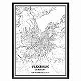 Flensburg Deutschland Karte Wandkunst Leinwand drucken