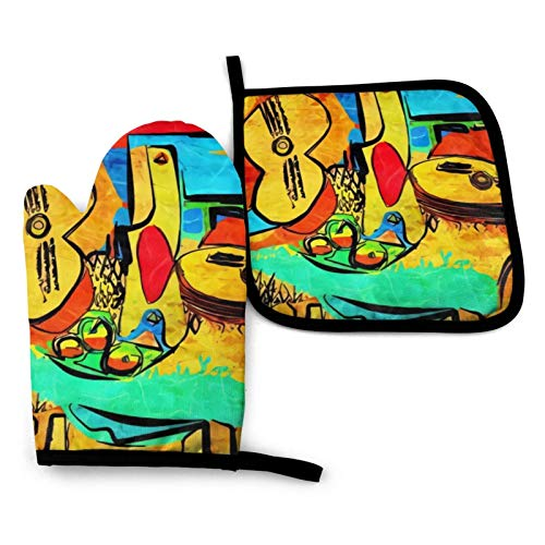 Picasso Oven Mitts and Pot Holders Set Kitchen Gift Set for Kitchen Cooking Baking, BBQ