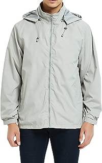 MADHERO Mens Windbreaker Jackets Lightweight Removable Hood Water-Resistant