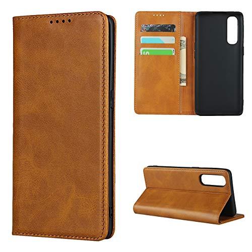 Copmob Hülle Oppo Reno3 Pro 5G/Find X2 Neo,Flip Leder Brieftasche Handyhülle,[3 Steckplätze][Ständerfunktion][Magnetverschluss],Ledertasche Klapphülle Schutzhülle für Oppo Find X2 Neo - Hellbraun