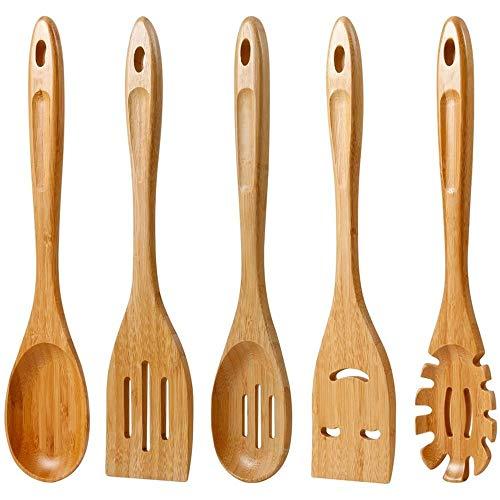 BHP Cucharas de Madera de bambú para cocinar, Juego de Utensilios de Cocina antiadherentes, cucharas de espátula, Herramienta de Cocina para sartenes antiadherentes