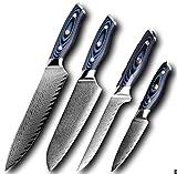 Cuchillo de cocina CUCHILLO DE CHEF DAMASCUS PROFESIONAL SANKOTU CLEA DE CARNEADA Cortar la herramienta de la cocina Herramienta de cocina Hogar de cocina (Color : 4 PCS Set)