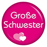 Kiwikatze® Familie - große Schwester - 37mm Button Pin Ansteckbutton als Geschenk oder Mitbringsel für die lieben Verwandten -