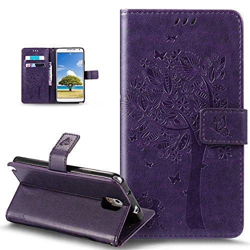 Ikasus Étui portefeuille en cuir synthétique pour Galaxy Note 3 avec motif de chat et papillon, motif floral, arbre à fleurs, étui à rabat avec support pour cartes de crédit et carte d'identité Violet