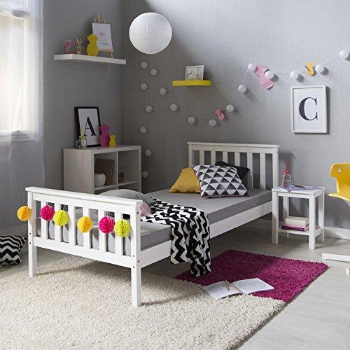 Homestyle4u 1416 houten bed grenen massief, eenpersoonsbed van bedframe met lattenbodem, 90x200 cm, wit