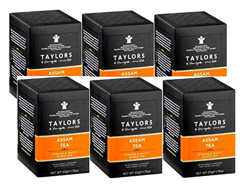 Taylors Assam Tea Strong & Malty Blaack Tea - 6 x 20 Individually Wrapped and Tagged Tea bags (300 Gram)