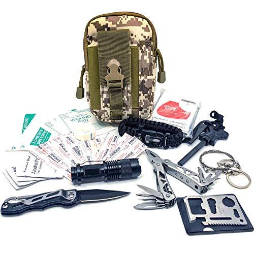 Felbridge Green Kits de Supervivencia en Emergencia con Alicates Plegables Multitool y Pulsera Paracord | para Acampar Bushcraft Militar y en Sus Aventuras al Aire Libre | Molle Survival Kit v1.0