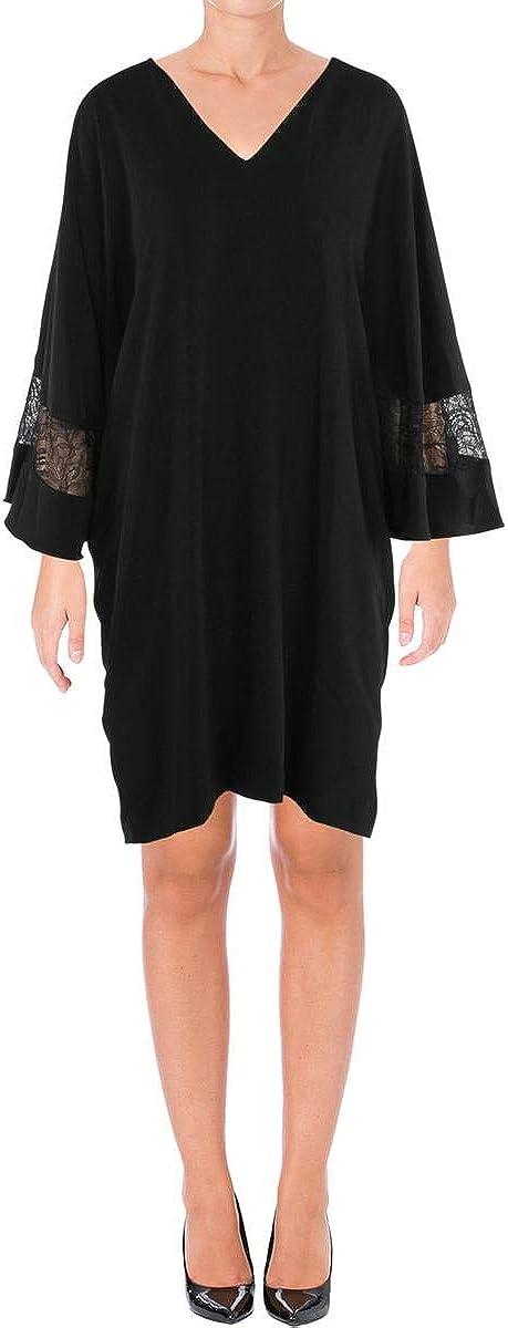 LAUREN RALPH LAUREN Womens Above The Knee Lace-Trim Babydoll Dress (Black, XX-Large)