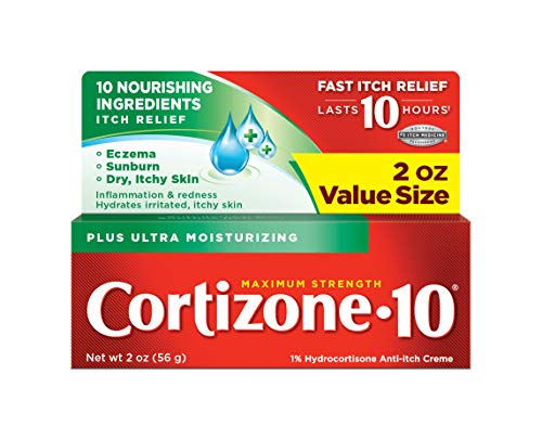 Best hydrocortisone cream - Cortizone-10 Plus Ultra Moisturizing Cream, 2 Ounce, Anti-Itch Cream with Aloe Vera and Vitamin A, Helps Relieve Itchy, Dry Skin associated with Rashes, Eczema and Psoriasis
