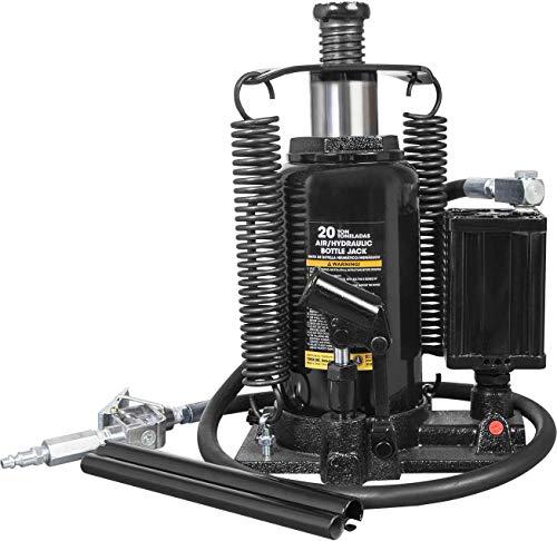 Torin ATA92006B Pneumatic Air Hydraulic Bottle Jack with Manual Hand Pump, 20 Ton (40,000 lb) Capacity, Black