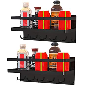 2 Pack Magnetic Spice Rack Organizer Max Load 18 Pounds Magnetic Shelf with 6 Stable Kitchen Utensil Hooks Can Hold Cooking Utensils Tools Kitchen Garage Universal Use 2 Pack With Hooks Black