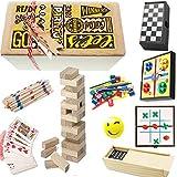 Partituki Pack Classic Jeux de Plateau Parcheesi, Dames, Domino, Poker Deck, Mikado, Jenga Wooden Tower Game, 3 en Ligne, Jeu de Compétence et Balle Anti-Stress