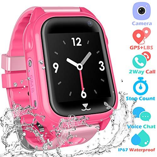 Kids Waterproof Smartwatch with GPS Tracker - Fitness Tracker Watch Phone with GPS Locator Voice Chat SOS Alarm Clock Camera Math Game Children Birthday Wrist Watch, GPS Pink