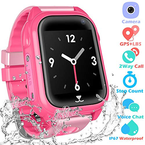 PTHTECHUS Kids Waterproof Smartwatch with GPS Tracker - Fitness Tracker Watch Phone with GPS Locator Voice Chat SOS Alarm Clock Camera Math Game Children Birthday Wrist Watch, GPS Pink